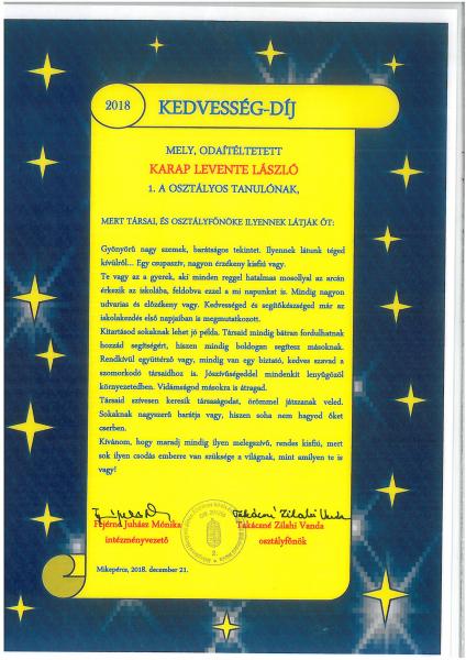 Karap Levente László (1.A)